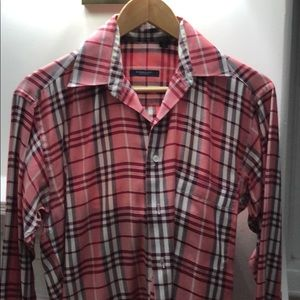 Men's Burberry red plaid  shirt button down